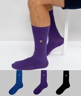 Lyle & Scott 3 Pack Socks Navy Blue & Purple