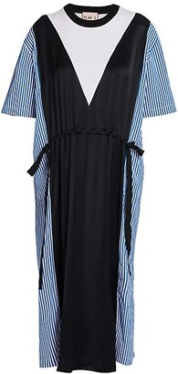 Plan C Poplin Tie Midi Dress