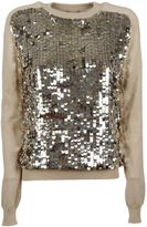 Emilio Pucci Natural Sequin Front Knitted Jumper