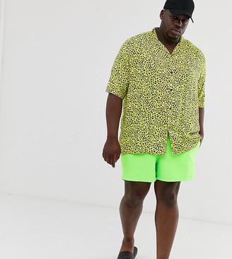 Asos DESIGN Plus swim shorts in neon green short length
