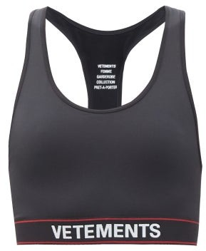 Vetements Logo-jacquard Racerback Stretch Jersey Cropped Top - Black