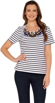 BROOKE SHIELDS Timeless Short Sleeve Striped Knit Embellished Tee