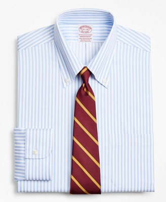 Brooks Brothers Stretch Madison Classic-Fit Dress Shirt, Non-Iron Twill Button-Down Collar Bold Stripe