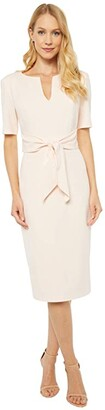 Adrianna Papell Knit Crepe Tie Sheath Dress (Satin Blush) Women's Dress