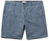Club Monaco Baxter Striped Linen and Cotton-Blend Shorts