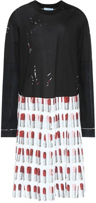 Prada Lipstick cotton and crepe dress