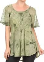 Sakkas 16483 - Hana Tie Dye Relaxed Fit Embroidery Cap Sleeves Peasant Batik Blouse / Top - OS