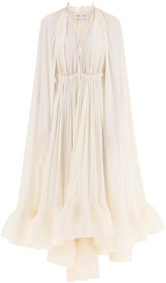 Lanvin Long-Sleeved Ruffle Gown