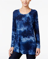 Style&Co. Style & Co. Petite Tie-Dyed High-Low Top, Only at Macy's