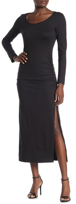 Velvet Torch Long Sleeve Ruched Maxi Dress