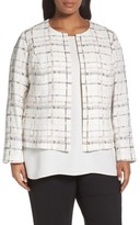 Lafayette 148 New York Plus Size Women's Linda Plaid Collarless Jacket
