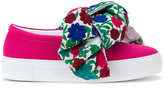 Joshua Sanders floral bow slip-on sneakers - women - Cotton - 36