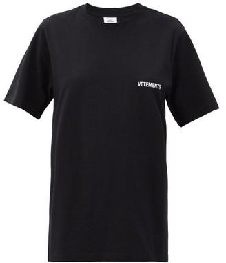 Vetements Front Back Logo-print Cotton-jersey T-shirt - Black