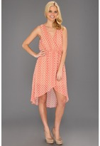Type Z Kornelia Chevron Hi-Low Dress (Taupe/Coral) - Apparel