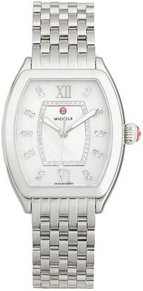 Michele Revele Stainless Steel, Mother-Of-Pearl & Diamond Bracelet Watch