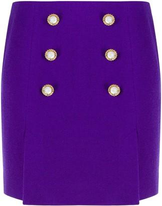 Alessandra Rich Crystal Button Mini Skirt