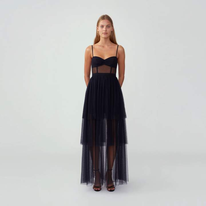 Fame & Partners Corset Tiered Gown