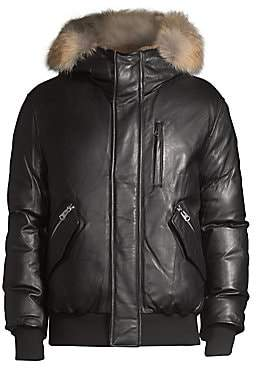 Mackage Men's Gable Leather Rabbit-Fur Trimmed Coat