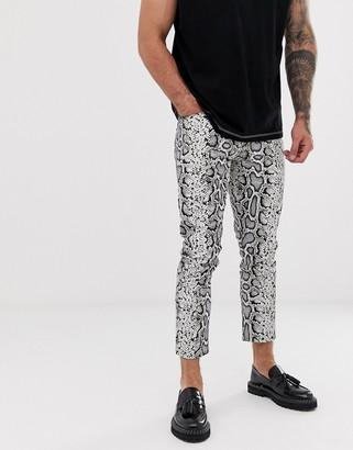 Asos Design DESIGN skinny jeans in leather look snake skin-Brown