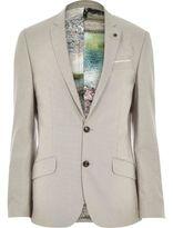 River Island MensBeige linen-blend print slim suit jacket