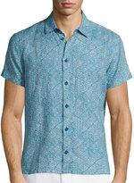 Orlebar Brown Batik-Print Short-Sleeve Linen Shirt, Teal