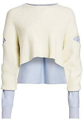 Alexander Wang Women's Mixed-Media Cropped Sweater