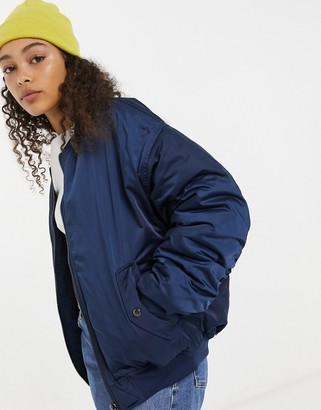 Dua Lipa x Pepe Jeans bomber jacket with textured detail in navy