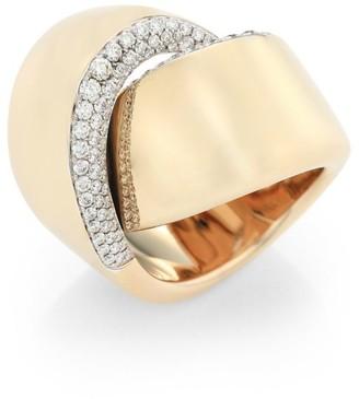 Vhernier Abbraccio 18K Yellow Gold & Diamond Pave Ring