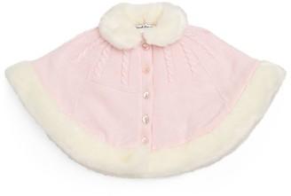 Sarah Louise Faux Fur-Trim Knitted Cape (6-24 Months)