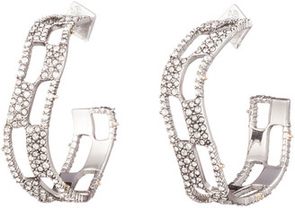 Alexis Bittar Pave Checkerboard Hoop Earrings