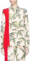 Stella McCartney Sash drape Birds of Paradise print crepe shirt