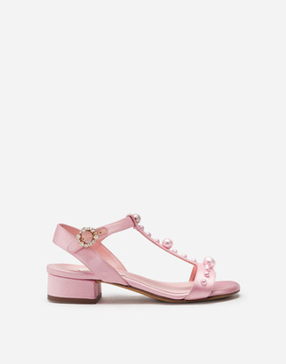 Dolce & Gabbana T-Strap Sandals In Satin With Jewel Applique