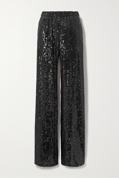 Thumbnail for your product : Naeem Khan Sequined Knitted Wide-leg Pants - Black
