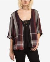 Volcom Juniors' Cotton Plaid Kimono Top