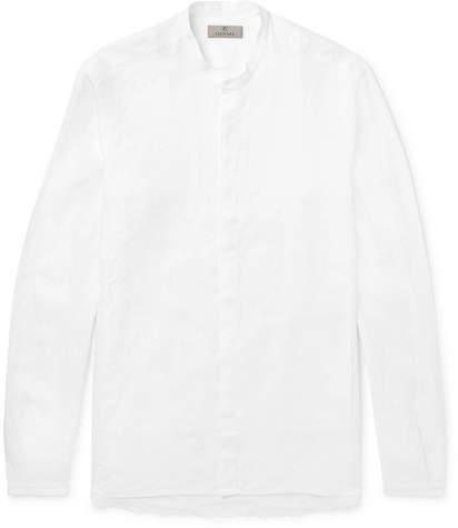 Canali Grandad-Collar Linen Shirt