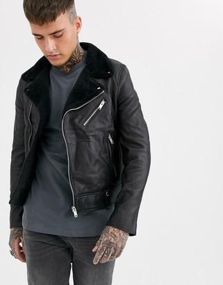 Bolongaro Trevor shearling collar biker leather jacket-Black