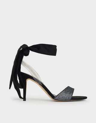 Charles & Keith Glitter Ribbon Ankle-Tie Sandals