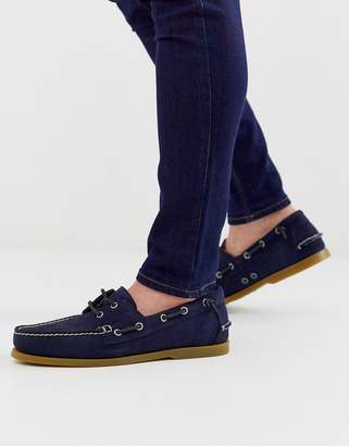 Polo Ralph Lauren merton suede lace up boat shoe in navy