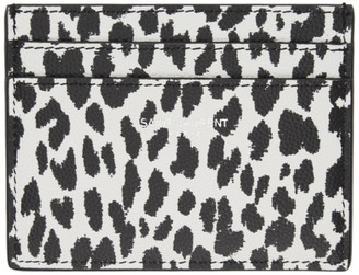 Saint Laurent Black and White Leopard Print Card Holder
