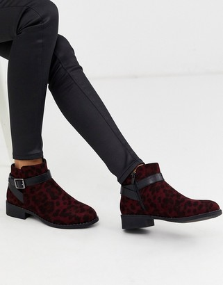 Park Lane stud rand flat ankle boots in leopard-Red