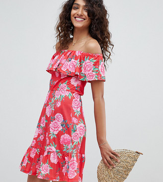 Asos DESIGN Tall off shoulder sundress with tiered skirt in floral print