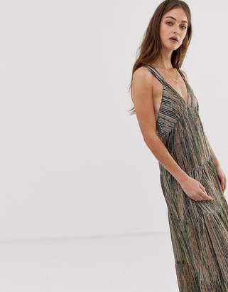 BA&SH Salsa striped glitter maxi dress-Green
