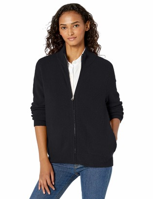 Daily Ritual Cozy Boucle Zip-front Cardigan Sweater Black