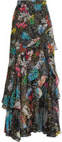 Peter Pilotto Tiered Ruffled Floral-print Silk-georgette Maxi Skirt - Black