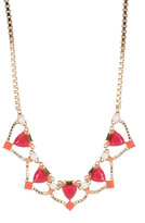 Carolee 12K Gold Stone Decorated Frontal Necklace