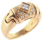Bvlgari 18kt Yellow Gold 17 Diamond Parentesi Ring Size 4.25