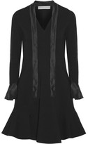 Emilio Pucci Pussy-bow Silk Satin-trimmed Stretch-crepe Dress - Black