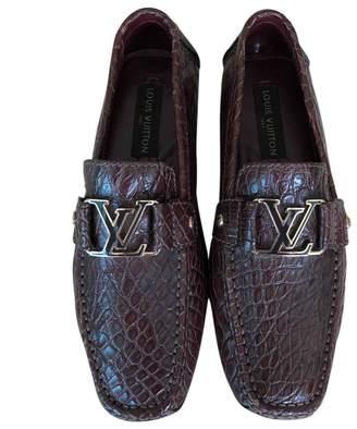 Louis Vuitton Burgundy Crocodile Flats