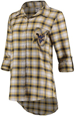 Women's Concepts Sport Navy/Gold West Virginia Mountaineers Forge Rayon Flannel Long Sleeve Button-Up Shirt