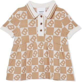BURBERRY KIDS B monogram polo shirt dress